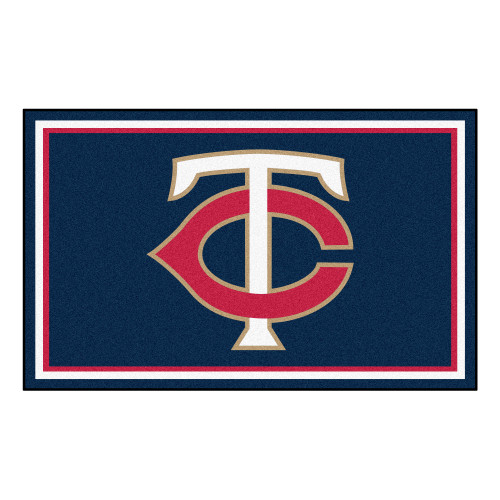 3.6' x 5.9' Blue and Red MLB Minnesota Twins Plush Area Rug - IMAGE 1