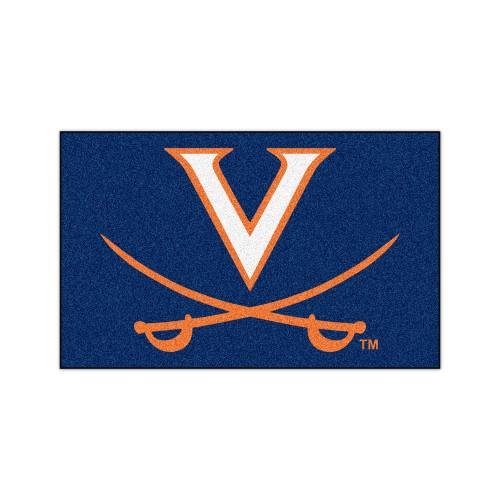 "59.5"" x 94.5"" Blue and Orange NCAA University of Virginia Cavaliers Mat Area Rug - IMAGE 1"