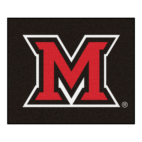 """59.5"""" x 71"""" Black and Red NCAA Miami University OH Redhawks Tailgater Mat Rectangular Area Rug - IMAGE 1"""