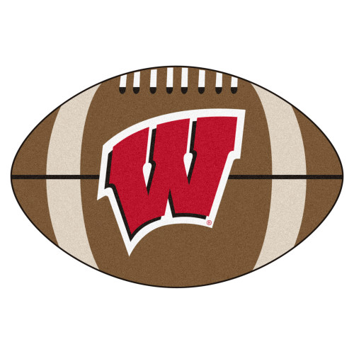 """20.5"""" x 32.5"""" Brown and Red NCAA University of Wisconsin Badgers Football Area Rug - IMAGE 1"""