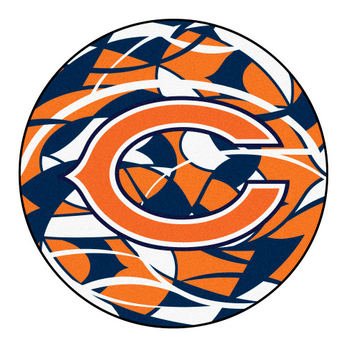 """27"""" Orange and Blue NFL Chicago Bears Rounded Non-Skid Mat Area Rug - IMAGE 1"""
