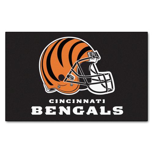 "59.5"" x 94.5"" Black and Orange NFL Cincinnati Bengals Ulti Mat Rectangular Outdoor Area Rug - IMAGE 1"