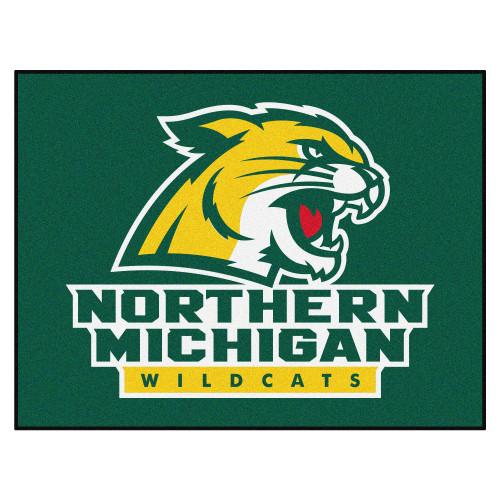 "33.75"" x 42.5"" Green and Yellow NCAA Northern Michigan University Wildcats Mat Area Rug - IMAGE 1"