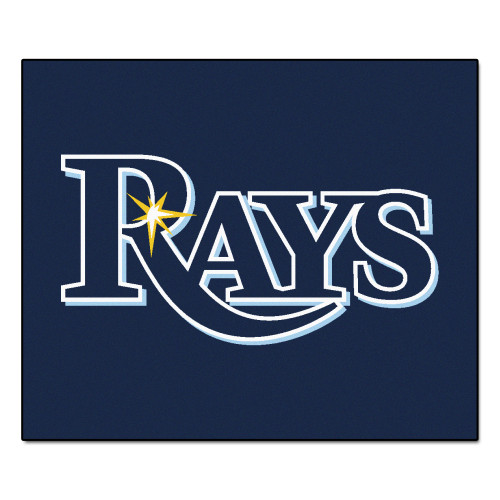 "59.5"" x 71"" Blue and White MLB Tampa Bay Rays Tailgater Mat Outdoor Area Rug - IMAGE 1"