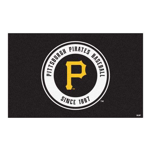 """59.5"""" x 94.5"""" Black and White MLB Pittsburgh Pirates Rectangular Door Mat - IMAGE 1"""