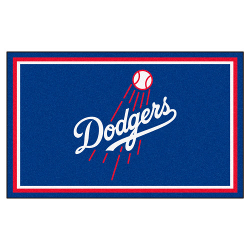 3.6' x 5.9' Blue and Red MLB Los Angeles Dodgers Plush Area Rug - IMAGE 1
