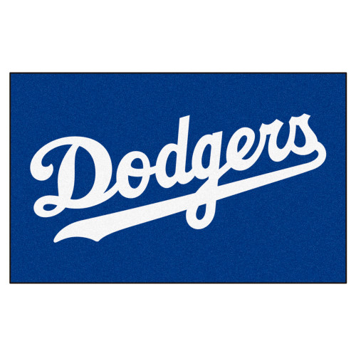 """59.5"""" x 94.5"""" Blue and White MLB Los Angeles Dodgers Ulti-Mat Rectangular Area Rug - IMAGE 1"""