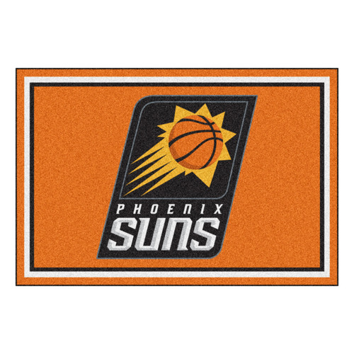 4.9' x 7.3' Orange and Black NBA Phoenix Suns Rectangular Plush Area Rug - IMAGE 1