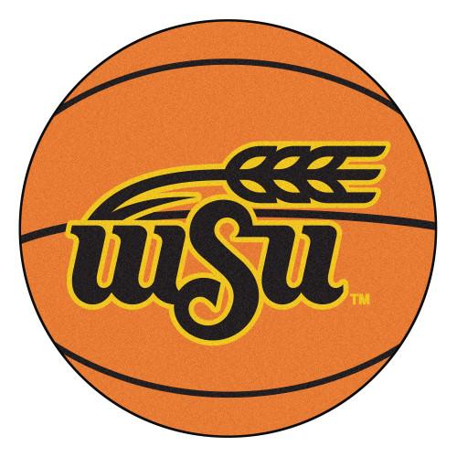 "27"" Orange and Black NCAA Wichita State University Shockers Basketball Round Mat - IMAGE 1"