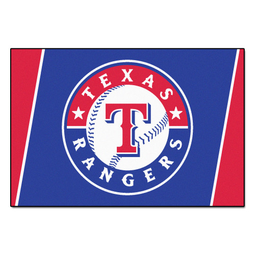 4.9' x 7.3' Blue and White MLB Texas Rangers Plush Area Rug - IMAGE 1