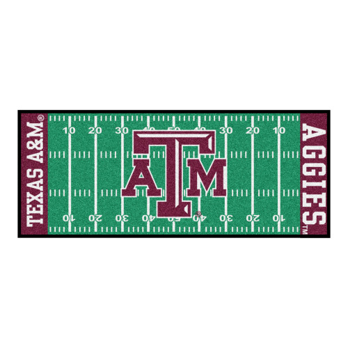 2.5' x 6' Green and Pink NCAA Texas ATM University Aggies Football Field Area Rug Runner - IMAGE 1