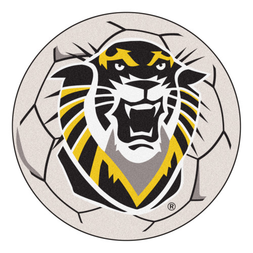 """27"""" Gray and Black NCAA Fort Hays State University Tigers Soccer Ball Round Door Mat - IMAGE 1"""
