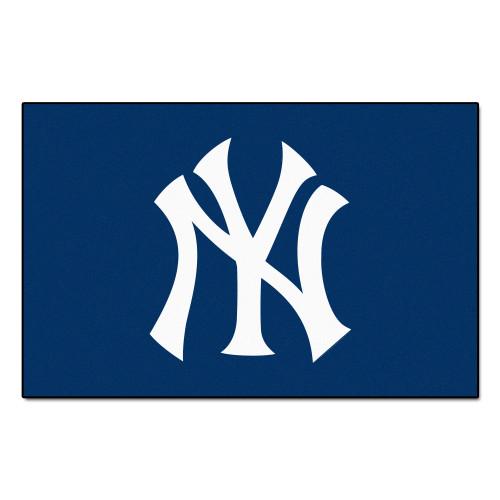 "19"" x 30"" Blue and White MLB New York Yankees Starter Mat Rectangular Area Rug - IMAGE 1"