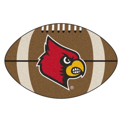 """20.5"""" X 32.5"""" Brown and Red NCAA University of Louisville Cardinals Football Shaped Mat Area Rug - IMAGE 1"""