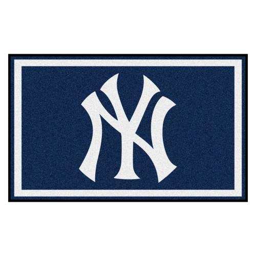 3.6' x 5.9' Blue and White MLB New York Yankees Rectangular Area Rug - IMAGE 1