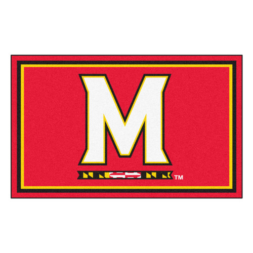 3.6' x 5.9' Red and White NCAA University of Maryland Terps Rectangular Area Rug - IMAGE 1