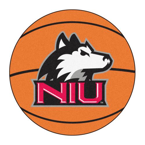"27"" Brown and Black NCAA Northern Illinois University Huskies Round Mat Area Rug - IMAGE 1"