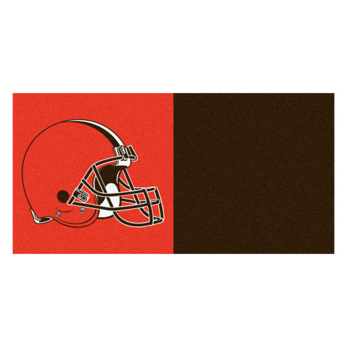 "20pc Orange and Brown NFL Cleveland Browns Team Carpet Tile Set 18"" x 18"" - IMAGE 1"