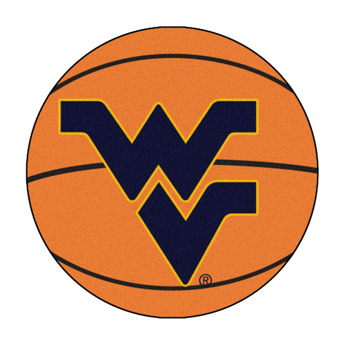 "27"" Orange and Black NCAA West Virginia University Mountaineers Basketball Mat Area Rug - IMAGE 1"