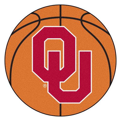 "27"" Orange and Red NCAA University of Oklahoma Sooners Basketball Shaped Mat Area Rug - IMAGE 1"