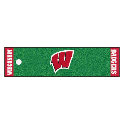 """18"""" x 72"""" Green and Red NCAA University of Wisconsin Badgers Golf Putting Mat - IMAGE 1"""