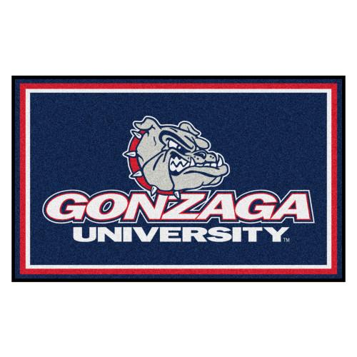 3.6' x 5.9' Blue and White Contemporary NCAA Gonzaga University Bulldogs Rectangular Area Rug - IMAGE 1