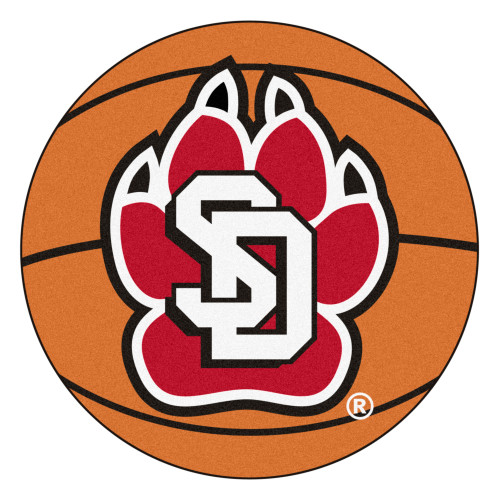 """27"""" Brown and Red NCAA University of South Dakota Coyotes Basketball Shaped Mat Area Rug - IMAGE 1"""