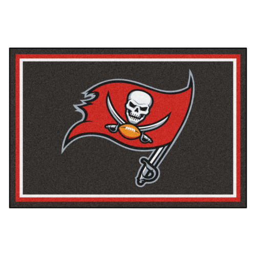 4.9' x 7.3' Black and Red NFL Tampa Bay Buccaneers Ultra Plush Rectangular Area Rug - IMAGE 1