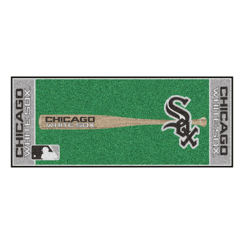 "30"" x 72"" Gray and Green MLB Chicago White Sox Non-Skid Baseball Mat Area Rug Runner - IMAGE 1"