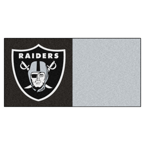 "20pc Black and Silver NFL Las Vegas Raiders Team Carpet Tile Set 18"" x 18"" - IMAGE 1"