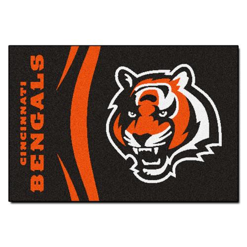 """19"""" x 30"""" Black and Orange NFL Cincinnati Bengals Starter Rectangular Door Mat - IMAGE 1"""