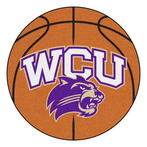 "Orange and Purple NCAA Western Carolina University Catamounts Basketball Welcome Door Mat 27"" - IMAGE 1"