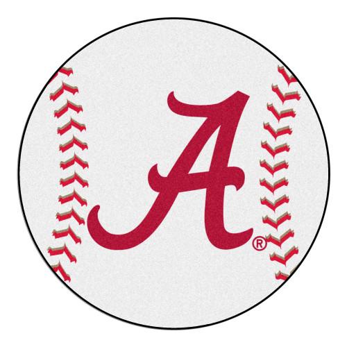 "27"" White and Red NCAA University of Alabama Crimson Tide Baseball Shaped Door Mat - IMAGE 1"