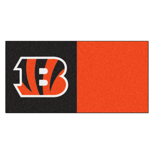 "20pc Orange and Black NFL Cincinnati Bengals Team Carpet Tile Set 18"" x 18"" - IMAGE 1"