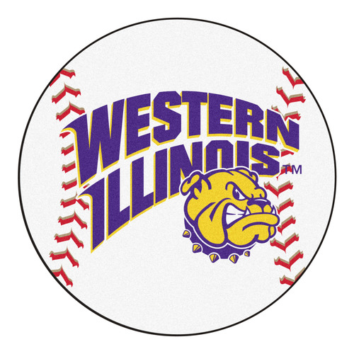 "27"" White and Purple NCAA Western Illinois University Leathernecks Baseball Mat - IMAGE 1"