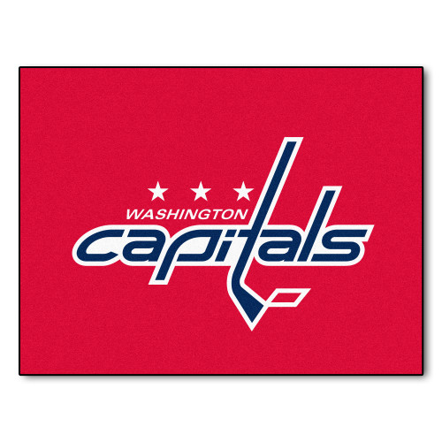 """33.75"""" x 42.5"""" Red and Blue NHL Washington Capitals All Star Non-Skid Mat Rectangular Area Rug - IMAGE 1"""