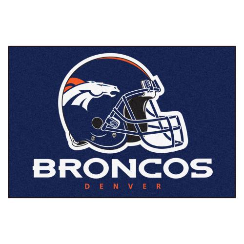 "19"" x 30"" Blue and White NFL Denver Broncos Starter Rectangular Door Mat - IMAGE 1"