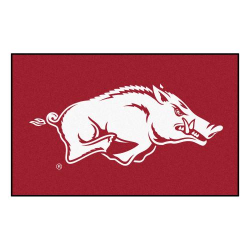 "59.5"" x 94.5"" Red and White NCAA University of Arkansas Razorbacks Rectangular Area Rug - IMAGE 1"