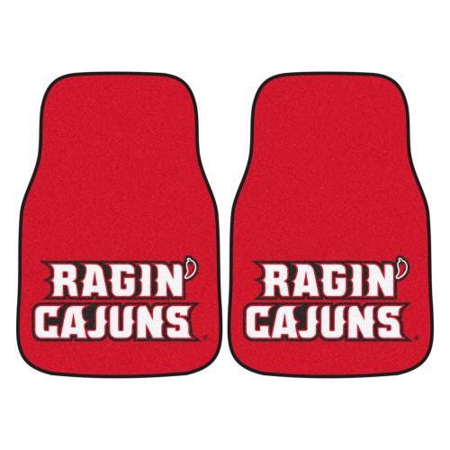"Set of 2 Red NCAA University of Louisiana-Lafayette Ragin Cajuns Front Carpet Car Mats 17"" x 27"" - IMAGE 1"