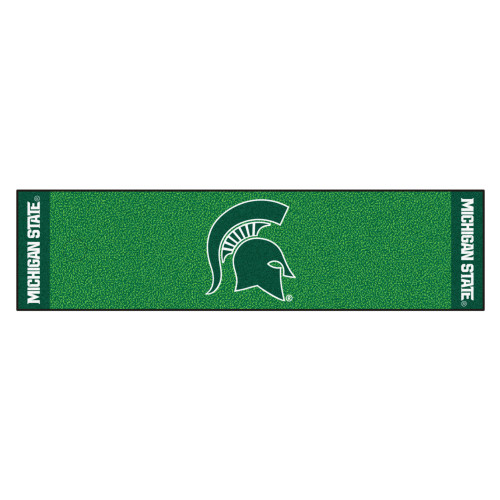 """18"""" x 72"""" Green and White NCAA Michigan State University Spartans Golf Putting Mat - IMAGE 1"""