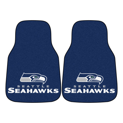 """Set of 2 Blue and White NFL Seattle Seahawks Front Carpet Car Mats 17"""" x 27"""" - IMAGE 1"""