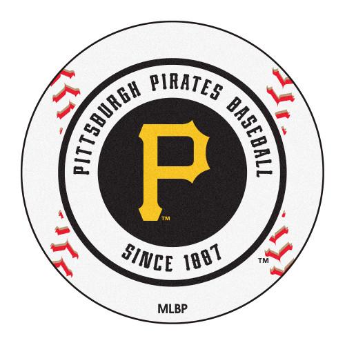 """27"""" White and Black MLB Pittsburgh Pirates Baseball Round Door Mat - IMAGE 1"""