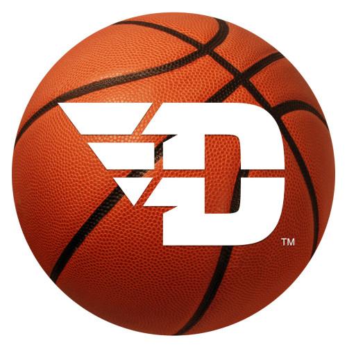 """27"""" Orange and White NCAA University of Dayton Flyers Basketball Shaped Mat Area Rug - IMAGE 1"""
