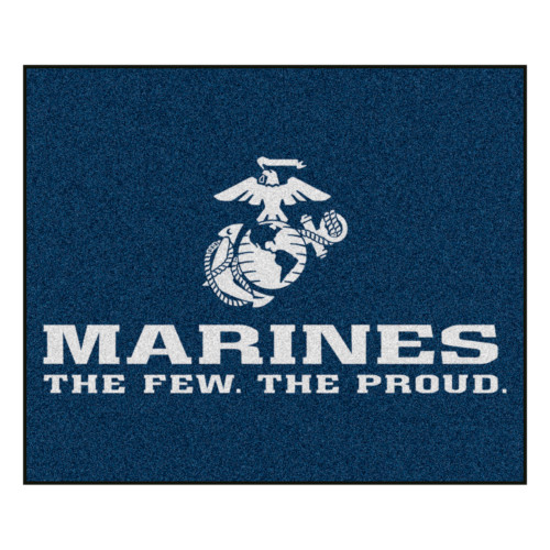 5' x 6' Blue and White Contemporary U.S. Marines Rectangular Outdoor Area Rug - IMAGE 1