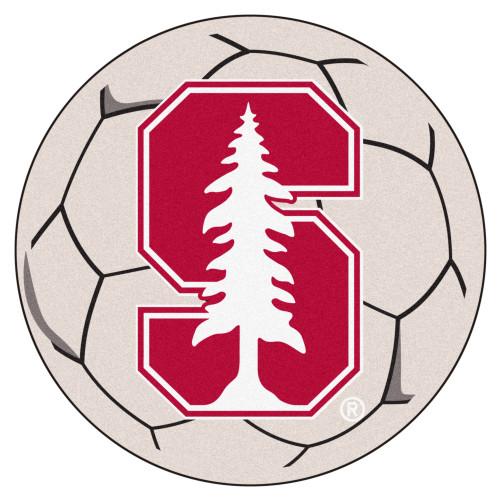 NCAA Stanford University Cardinal Soccer Ball Mat Round Area Rug - IMAGE 1