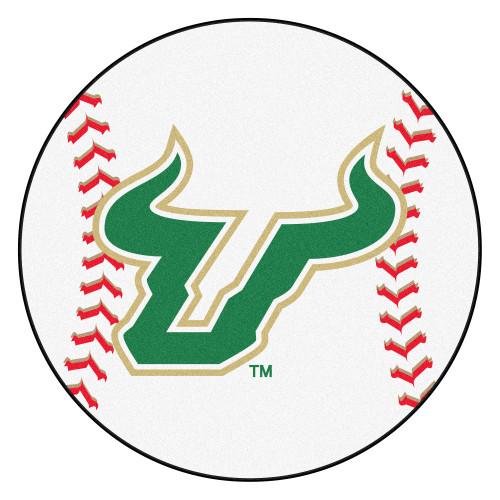NCAA University of South Florida Bulls Baseball Shaped Mat Round Area Rug - IMAGE 1