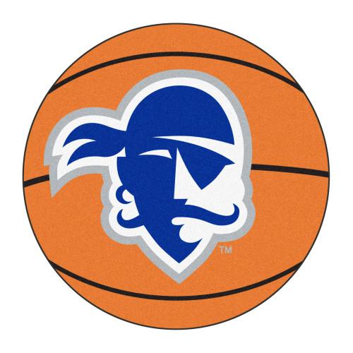 "27"" Orange and Blue Contemporary NCAA Seton Hall University Pirates Basketball Round Mat - IMAGE 1"