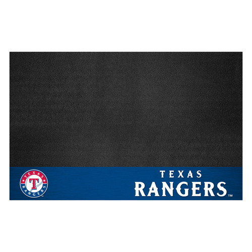 "26"" x 42"" Black and Blue MLB Texas Rangers Grill Mat Tailgate Accessory - IMAGE 1"