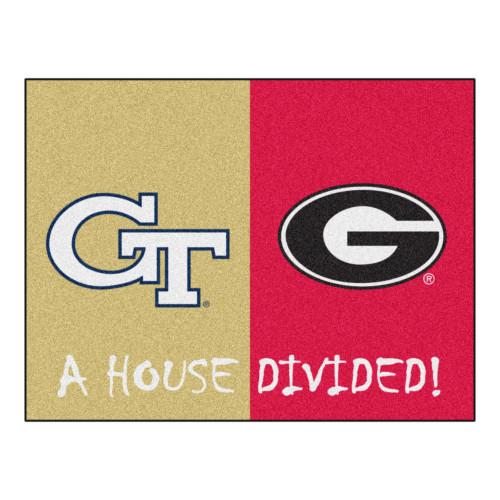 "33.75"" x 42.5"" Beige and Pink NCAA House Divided Georgia Rectangular Mat - IMAGE 1"