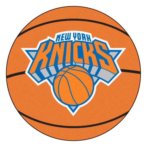 "27"" Orange and Blue NBA New York Knicks Basketball Round Doormat - IMAGE 1"